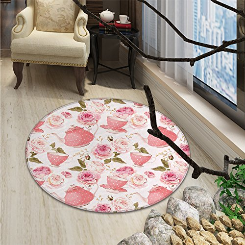 Modern Elegance Rose Rug (Floral Round Rugs for Bedroom Vintage Tea Cups with Roses Romantic Shabby Chic Elegance DesignOriental Floor and Carpets Light Pink Coral Fern Green)