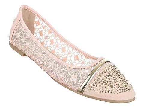 Damen Ballerinas Schuhe Loafers Slipper Slip on Flats Strass