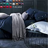 60 Threads Count Bedding Sets - Long-staple Cotton Pure Color Duvet Cover and Flat Sheet Queen Blue
