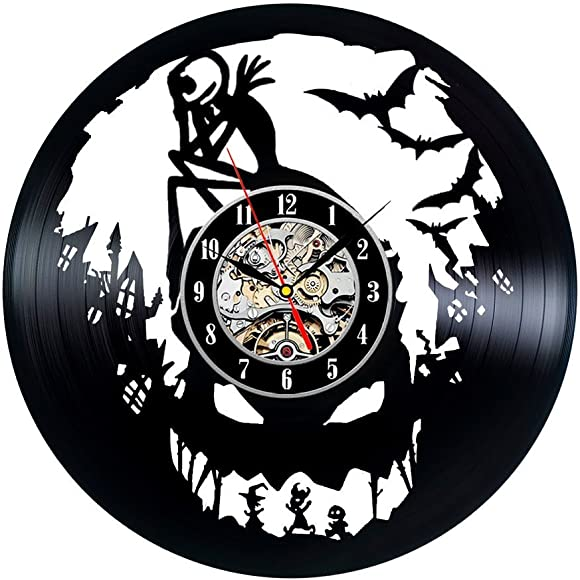 Wood Crafty Shop Nightmare Before Christmas Art Clock Vinyl Record Wall Clock Gift