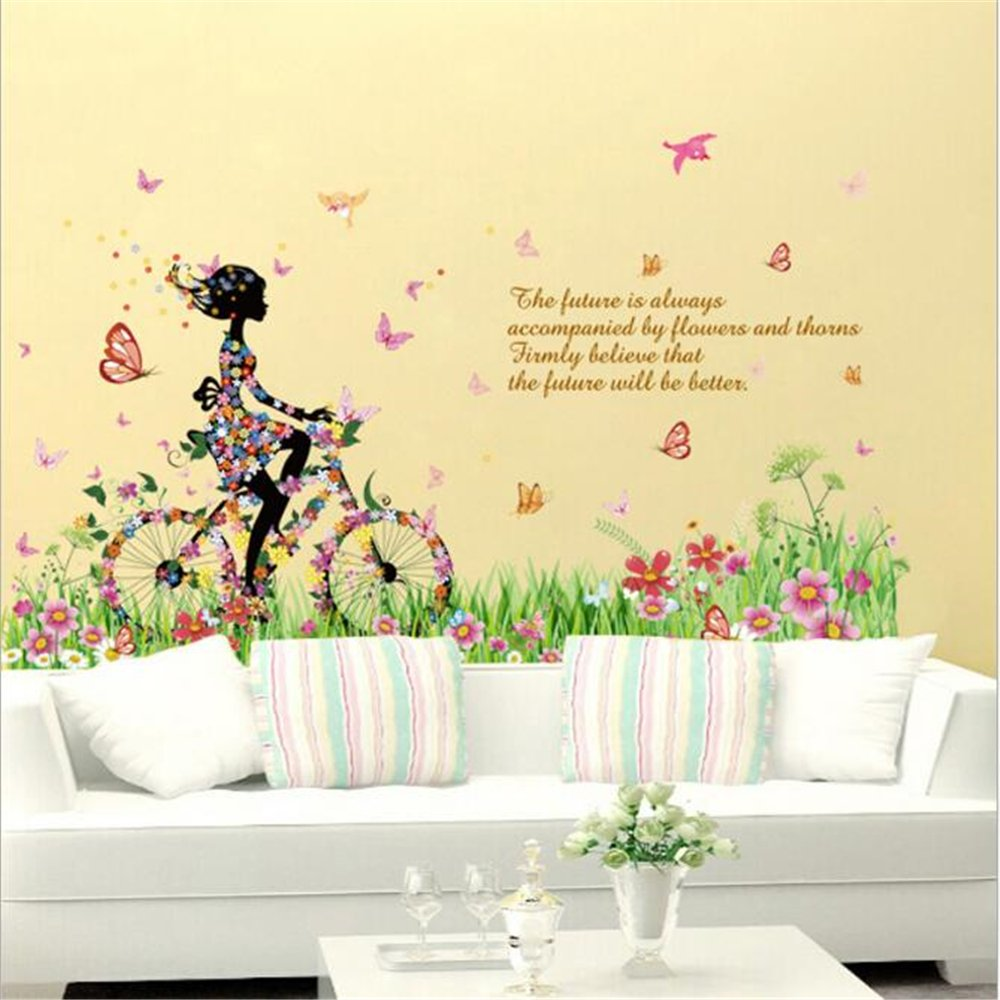 Amazon.com: Fairy Wall Stickers Bicycle Elf Girl Princess Wall ...