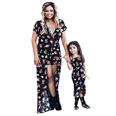 d1d4588fcb KFSO Family Matching Clothes Outfits Mommy and Me Floral Summer Beach Dress  (Daughter, 2T