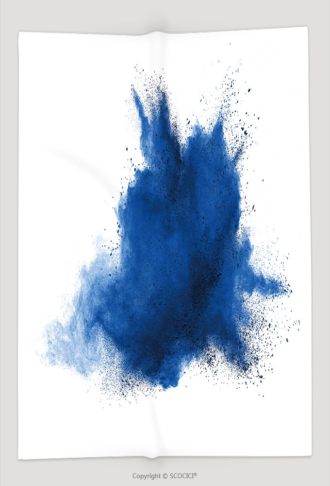 Custom Throw Blanket Blue Powder Explosion On White Background Colored Cloud Colorful Dust Explode Paint Holi 588775655 and Comfortable by vanfan