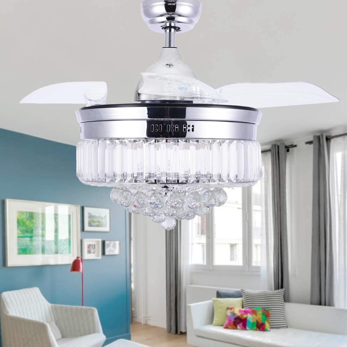 Bella Depot Modern Drum Ceiling Fan, 42 3 Bladeless Ceiling Fan Chandelier fan, CCT Dimmable LED Lights, Remote Control, Retractable Blades, Crystals, Chrome