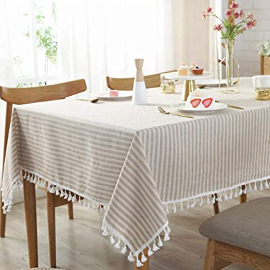 AMZALI Stripe Tassel Tablecloth Cotton Linen Table Cloth Stain Resistant Dust-Proof Table Cover for Kitchen Dinning Tabletop Home Decoration (Rectangle/Oblong,35 x 55 Inch, Beige)