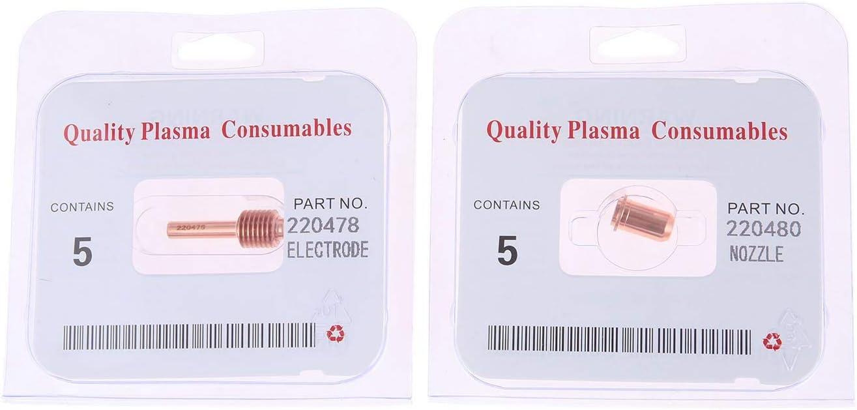 Mtsooning 5pcs Plasma Electrodes 220478 Fit for Power max 30 30A Standard Handheld