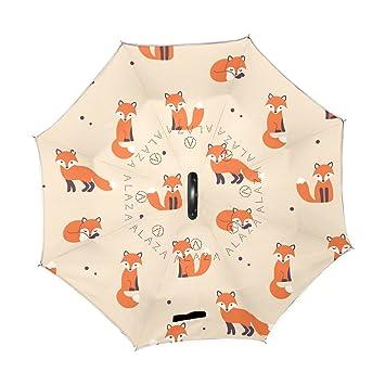 ALAZA Cute dibujos animados patrón zorros negro de lunares puede paraguas paraguas plegable de doble capa