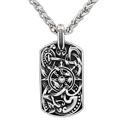 Men stainless steel viking odin/'s wolf dog tag pendant necklace