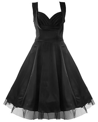 50s Satin Evening Cocktail Party Dress Black - XXL=14 (US), 18