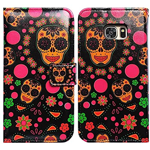 Bfun Packing Bcov Black Skull Flower Card Slot Wallet Leather Cover Case For Samsung Galaxy S7 Sales