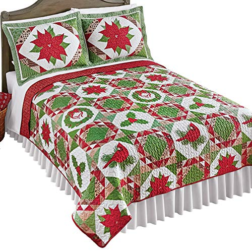 Great Features Of Collections Etc Reversible Patchwork Style Country Christmas Quilt - Festive Holid...