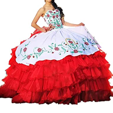30d0a5dce07 Formaldresses Ball Gown Embroidery Red and White Quinceanera Dresses Sweet  16 Dress Mexican Ruffles Formal Women