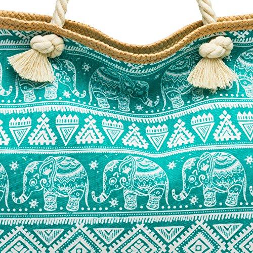 Bag XXL Bag with Exotic CASPAR Women Beach Shopper Pattern TS1042 Large Elephant Turquoise c1qqwH04U