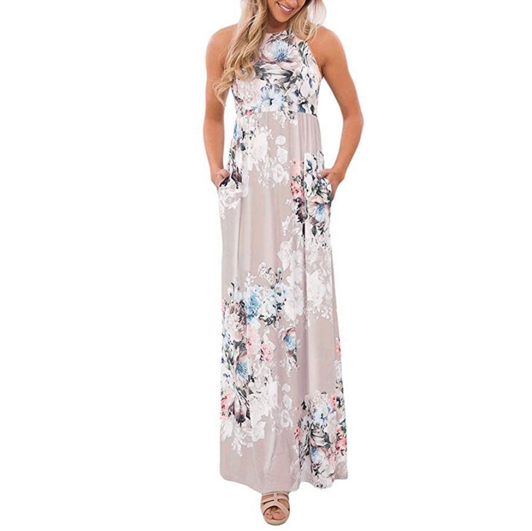 NREALY Women's Sexy Floral Print Round Neck Sleeveless Long Maxi Casual Beach Dress Falda(M, Beige)