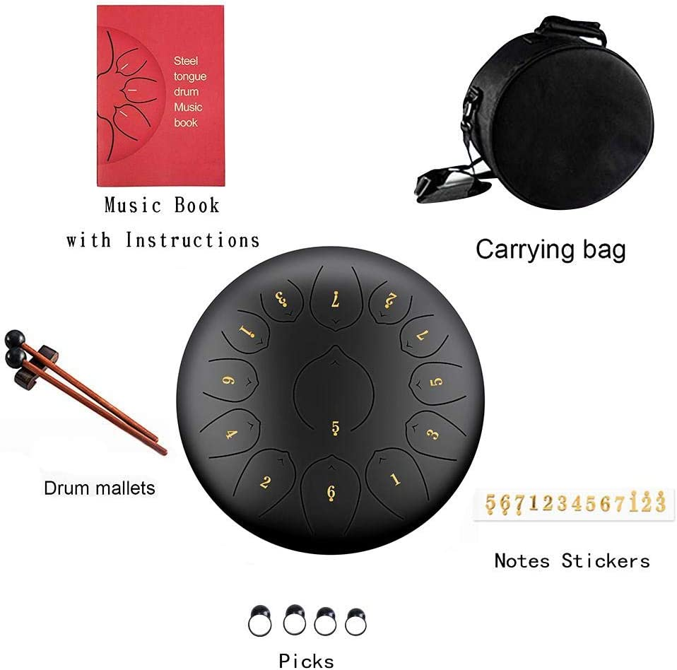 Nrkin 12 Inch Steel Tongue Drum In D Key Hand Drum 13 Tones Percussion Instrument With Drum Mallets Carry Bag Note Sticks For Meditation Yoga With Drum Mallets Carry Bag