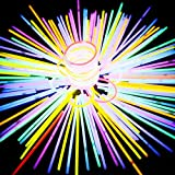 100PCS Glow Sticks Party Supplies - Glow in the Dark Fun Party Pack with Super Bright 8'' Glowsticks and Connectors for Bracelets and Necklaces