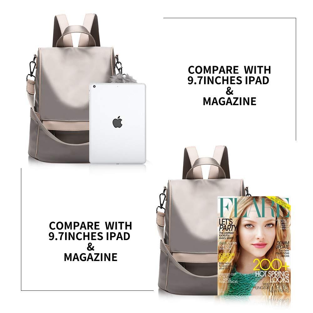 Women Backpack Purse Nylon Anti-theft Fashion Casual Lightweight Travel School Shoulder Bag (Khaki) by Cheruty (Image #5)