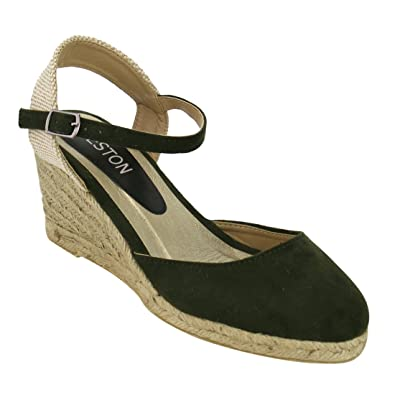 85829f8a04 BESTON ID90 Women Espadrille Ankle Strap Platform Wedge Sandals One Size  Small, Color:Khaki