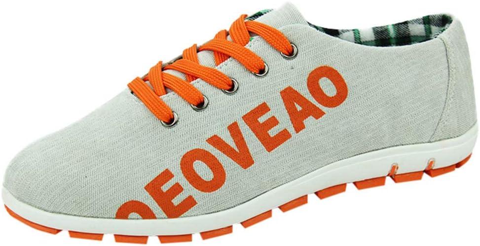 xinxinyu Calzado Correr Ligeros para Hombre | Zapatillas Lona Transpirables con Cordones | Gran Tamaño Zapatos Calle de Letra Impresa Al Aire Libre: Amazon.es: Deportes y aire libre