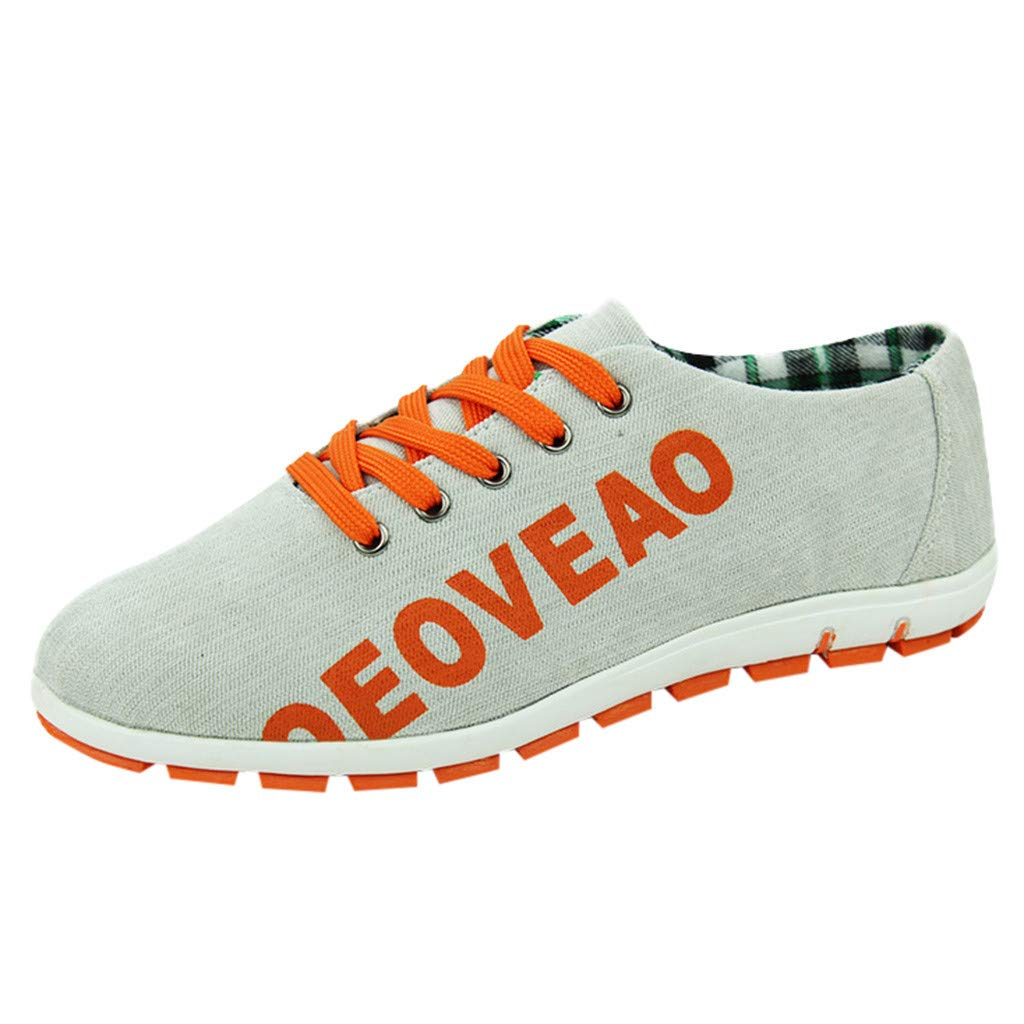 Men Canvas Shoes Casual Club Stylish Lightweight Tennis Sneakers Loafer Sneakers (US:7, Gray)