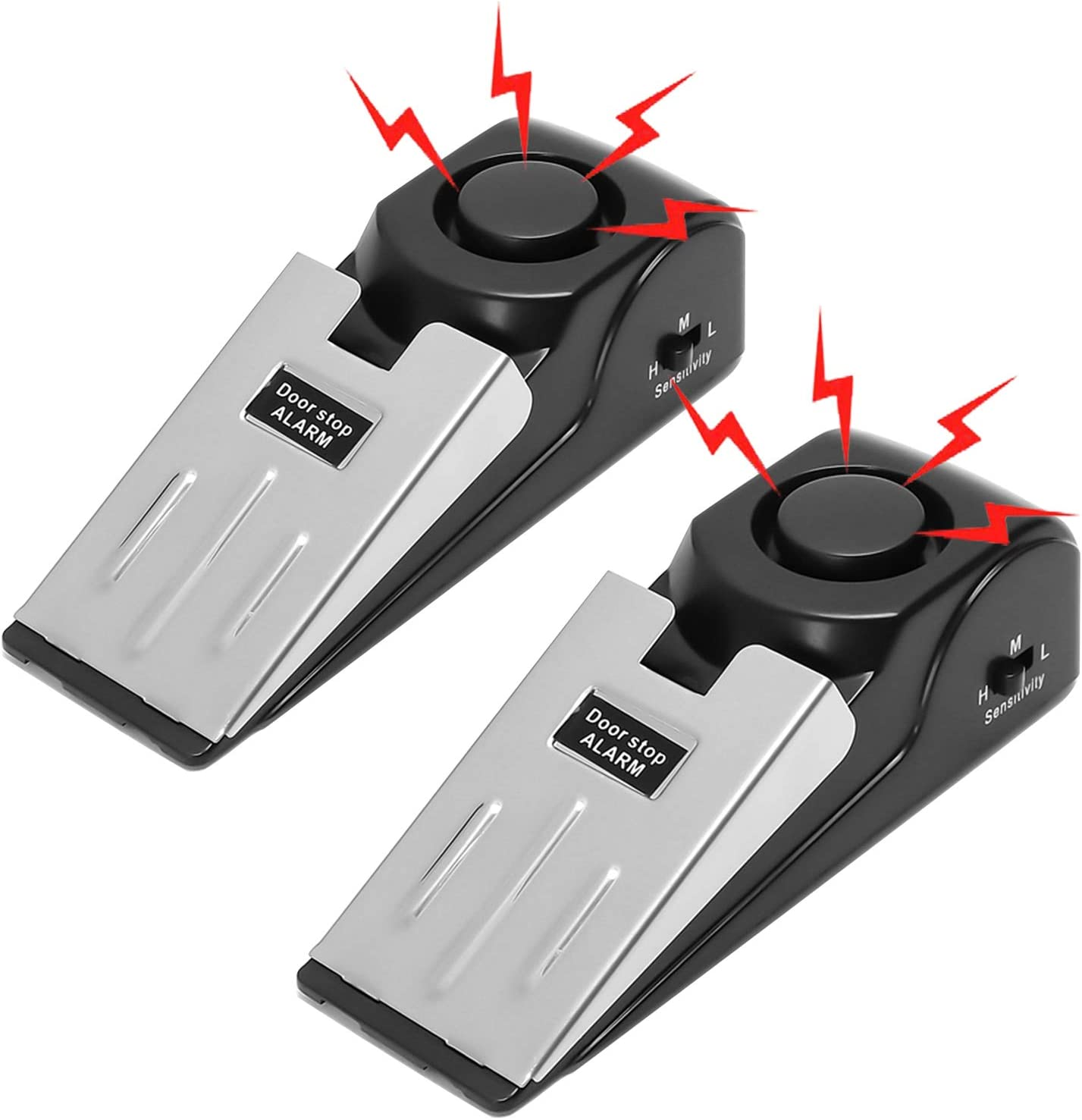 2-Pack Door Wedge Jammer Security Bar Door Stopper Alarm Home Defense Alert with 120DB Siren Personal Portable Protection Devices for Home & Travel Apartment House