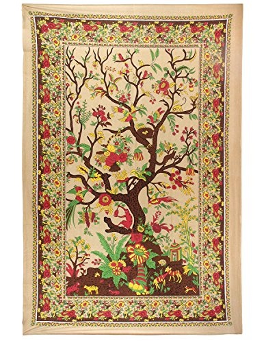 Quilted Wall Hanging (Sunshine Joy Tree Of Life Indian Tapestry - 60x90 Inches - Beach Sheet - Hanging Wall Art)