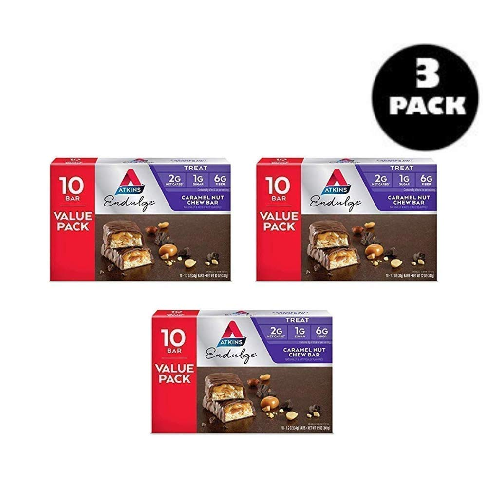 Atkins Endulge Treat, Caramel Nut Chew Bar, Keto Friendly, 30 Ct - 3 Pack by Atkins