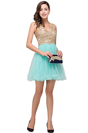 Babyonlinedress Women Sleeveless Bodycon Lace Applique Chiffon Cocktail Party Prom Dress Aqua,2