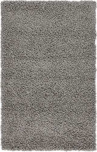 Unique Loom Solo Solid Shag Collection Modern Plush Cloud Gray Rectangle (3 x 5)