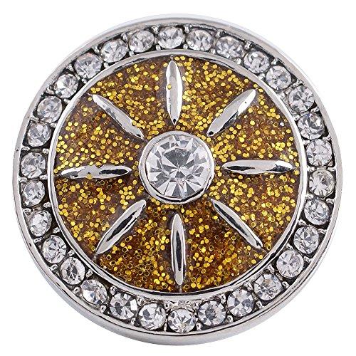 Crystal Clear Pinwheel - Chunk Snap Charm Multicolor Pinwheel Clear Crystals Border 20mm 3/4