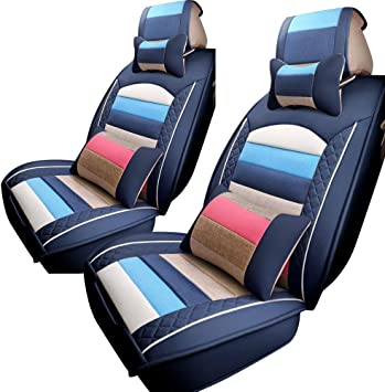 1set 2Pc Black Real Leather Car Seat Neck Pillow Car Headrest Fit For all Car