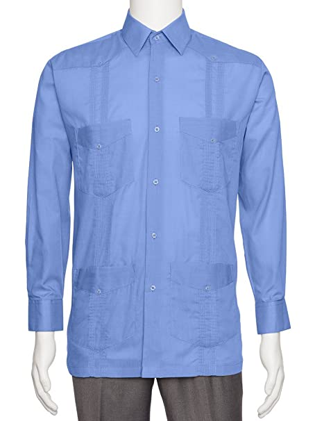 7ef0cbf5f2 Gentlemens Collection Mens Linen Look Guayabera Shirt Nirvana X-Large   Amazon.ca  Clothing   Accessories