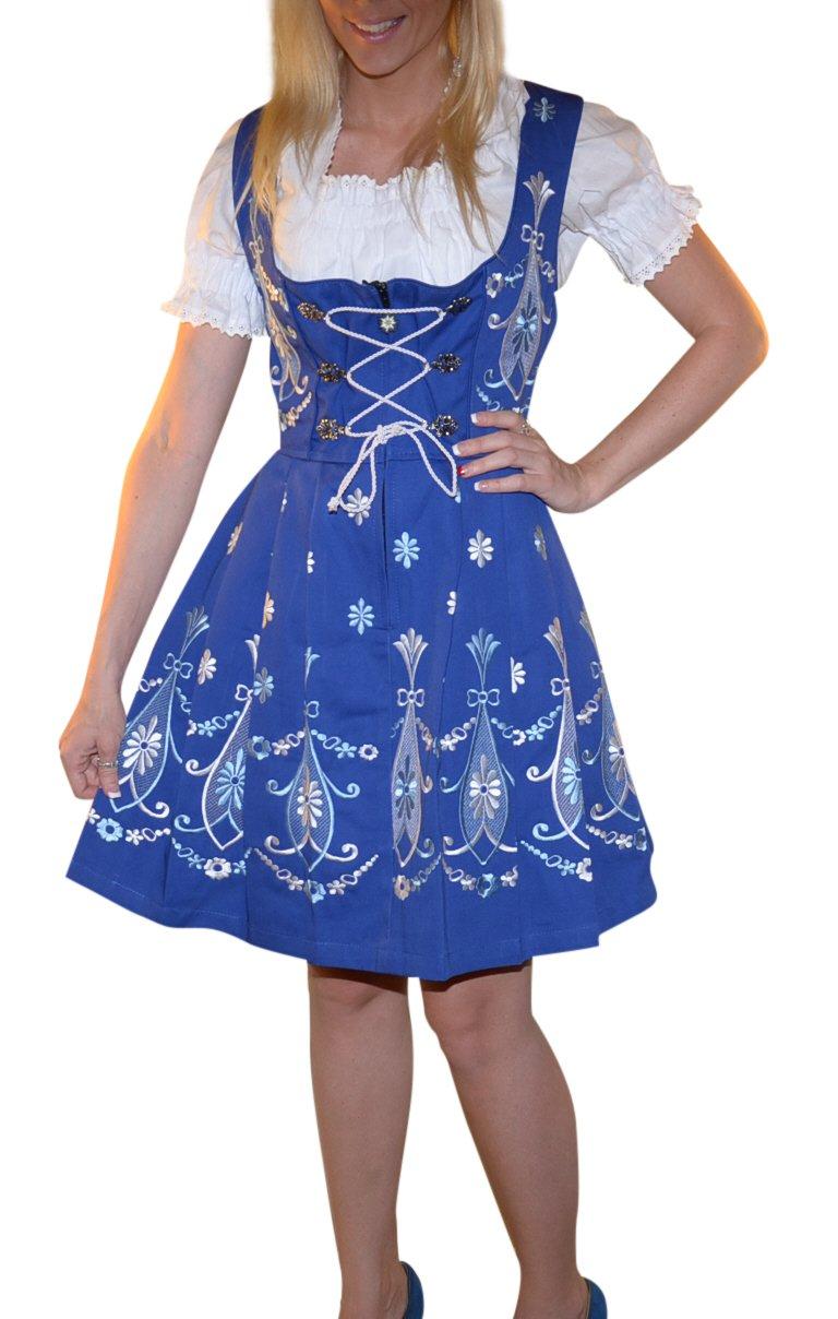 Dirndl Trachten Haus 3-piece Short German Wear Party Oktoberfest Waitress Dress 12 42 Blue by Dirndl Trachten Haus (Image #2)