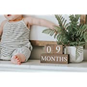 Sweet Sage Studio Wood Baby Milestone Blocks - 6 Color Styles - Best Baby Age Photo Props, Wooden Age Blocks, Baby Photography Props, Nursery Decor, (Dark Stain)