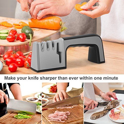 Knife Sharpener,4 in 1 Knife & Scissor Sharpener, 4-Stage Kitchen Knife Sharpener Tool, Sharpens Dull Knives Quickly,Suit for Various Knives,Best Choice for Chef & Family by Fujiway (Image #4)