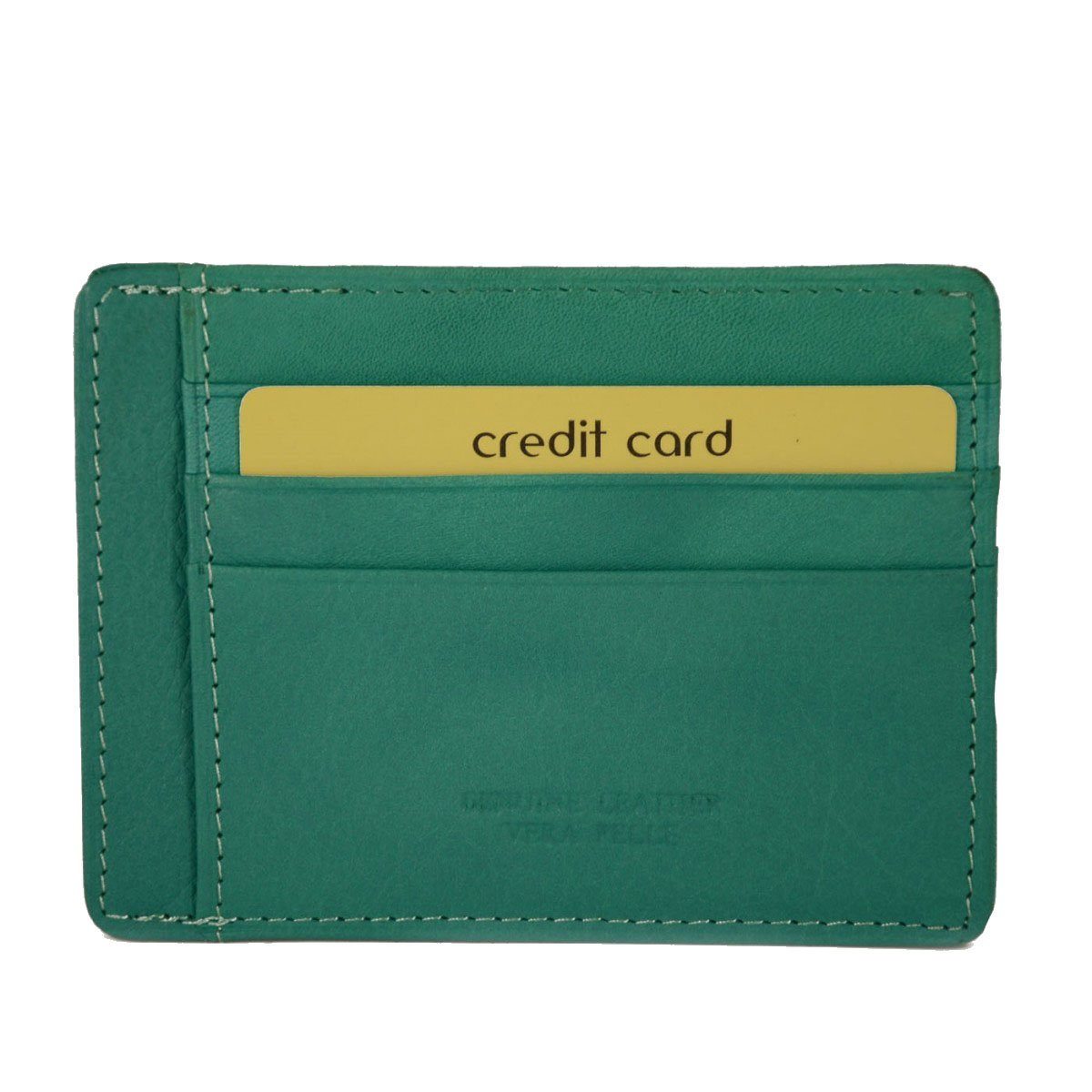 Genuine Leather Card Holder 9 Compartments Color Green