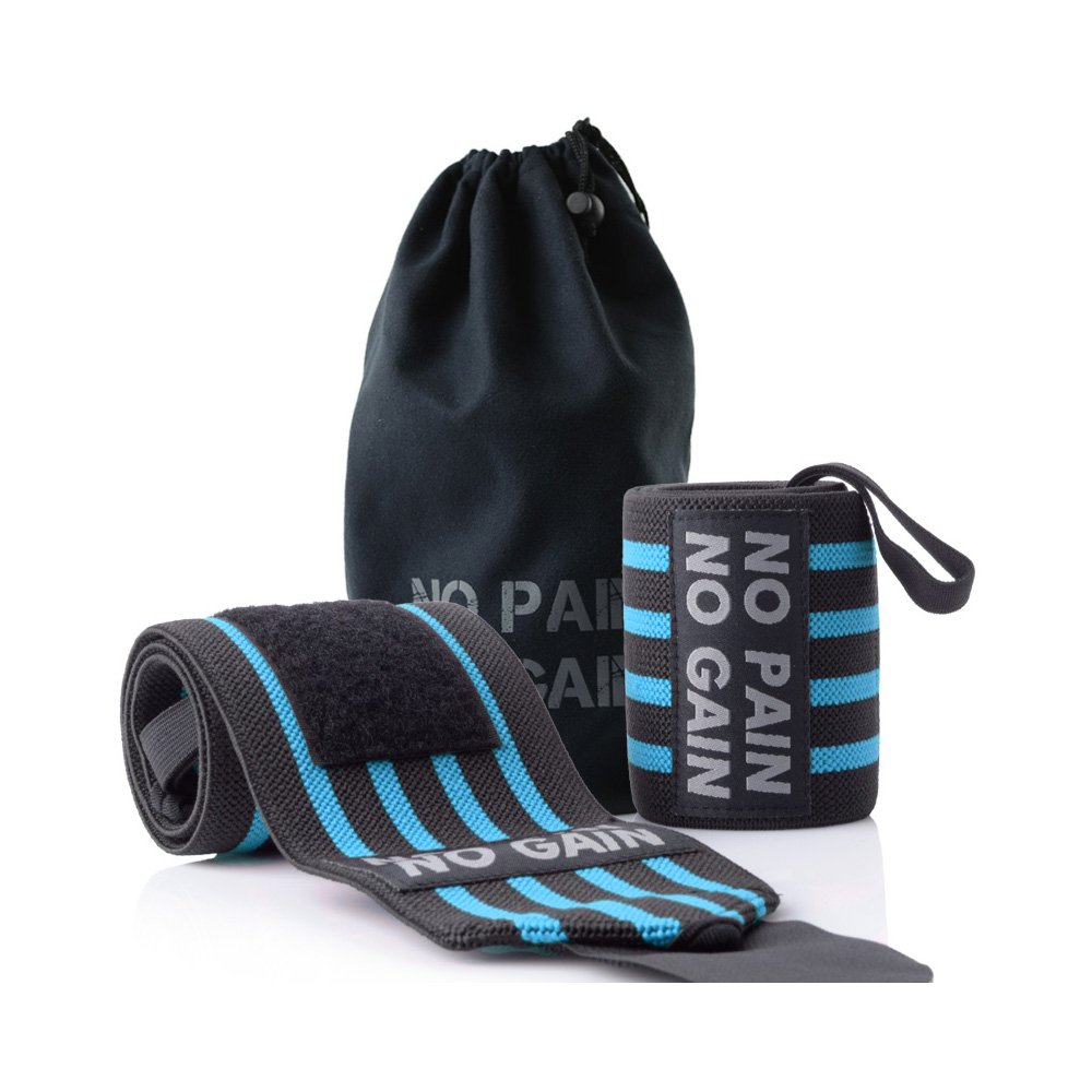 HYFAN Professional Wrist Elbow Knee Wraps Elastic Straps Brace Support Protector for Weightlifting Workout Bodybuilding Gym Fitness ( Wrist, Blue )