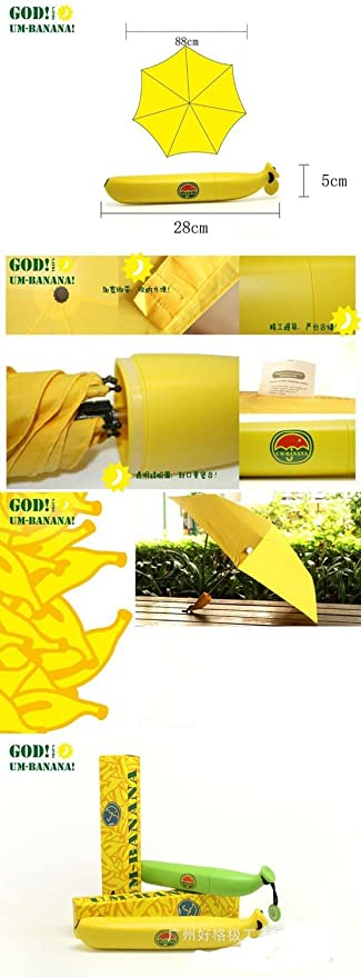 Amazon.com: GRACE MARKET, Banana Paraguas Rain and Parasol Cute Umbrella For Moschino Women As Novelty Kids Gifts Protection Windproof Folding Umbrellas, ...