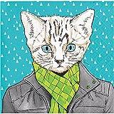 Elise 330012 Dapper Animals Pattern 3-Ply Beverage Paper Napkins, Cat