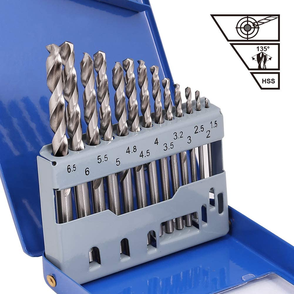 Cast Iron 13 Pcs Straight Shank HSS M2 for Stainless Steel Plastic and Wood COMOWARE Jobber Metal Drill Bit Set