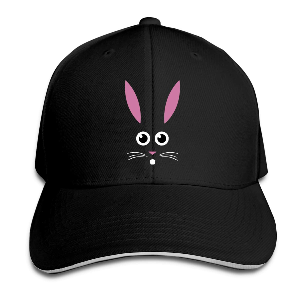 Cute Little Easter Bunny Face Outdoor Snapback Sandwich Cap Adjustable Baseball Hat Dad Hat