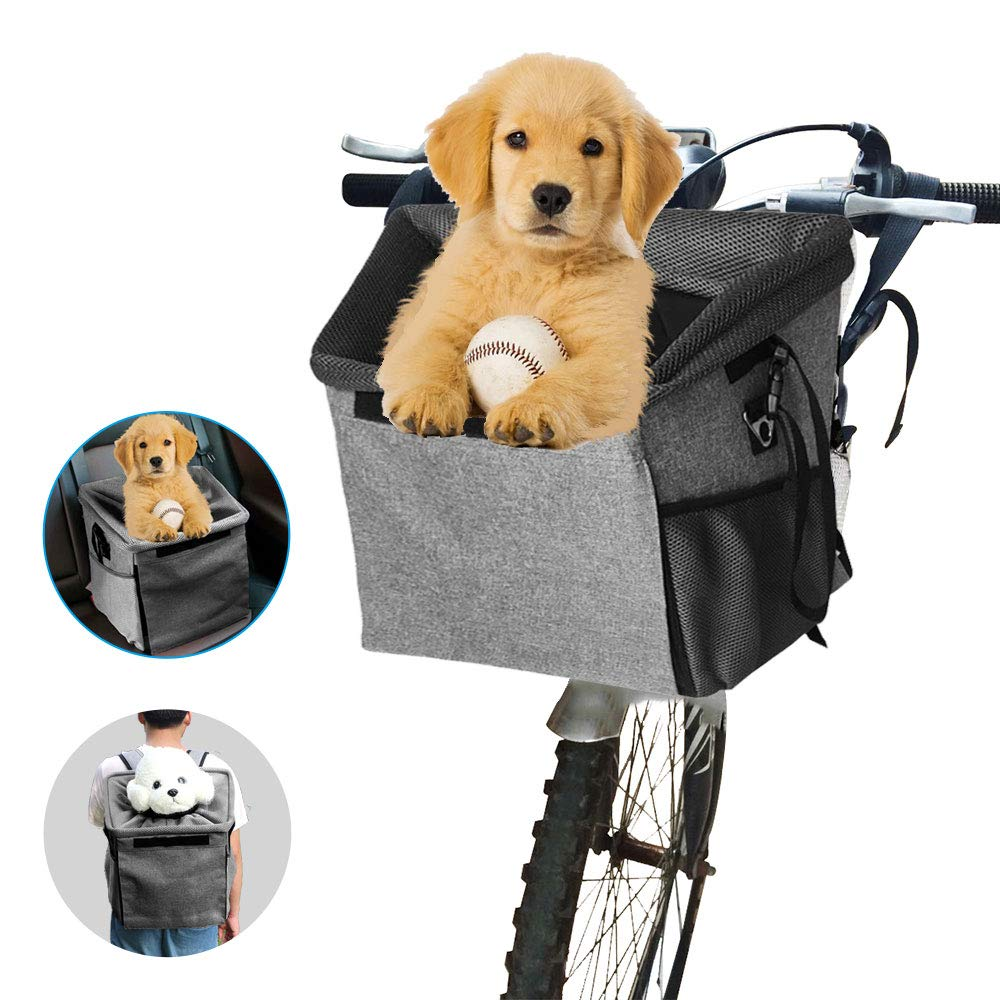 Arkmiido Bicycle Pet Carrier Basket Bag Dog Bike Front Carrier Portable Breathable Dog Carrier for Cats Puppy Dogs with Soft Mat Mesh Pockets Shoulder Strap for Travelling Outdoors by Arkmiido