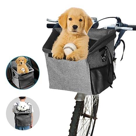 Transportín de bicicleta para mascotas, con 2 bolsillos grandes de malla, multifuncional 3 en 1 con correa para el hombro portátil, transpirable, para ...