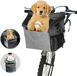 Transportín de bicicleta para mascotas, con 2 bolsillos grandes de ...