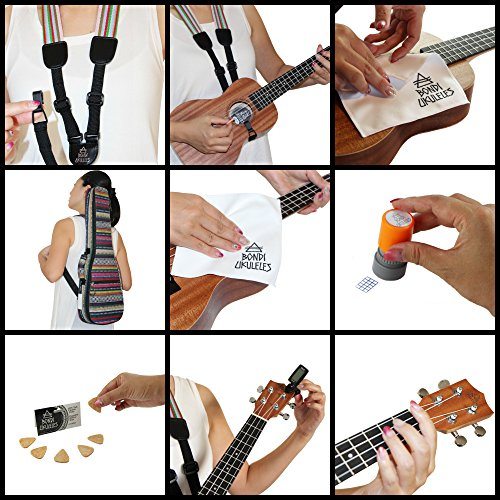 Ukulele Starter Kit (15-FREE-Bonuses) Mahogany Uke, Compression Sponge Case, Aquila Strings, Felt Picks, Tuner, Chord Stamp, Chord Chart, Leather Strap, Live Lesson & More (Limited Time) by Bondi Ukuleles (Image #7)