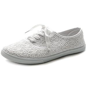 Ollio Women's Ballet Shoe Lace Up Sneaker Canvas Flat (10 B(M) US, White)