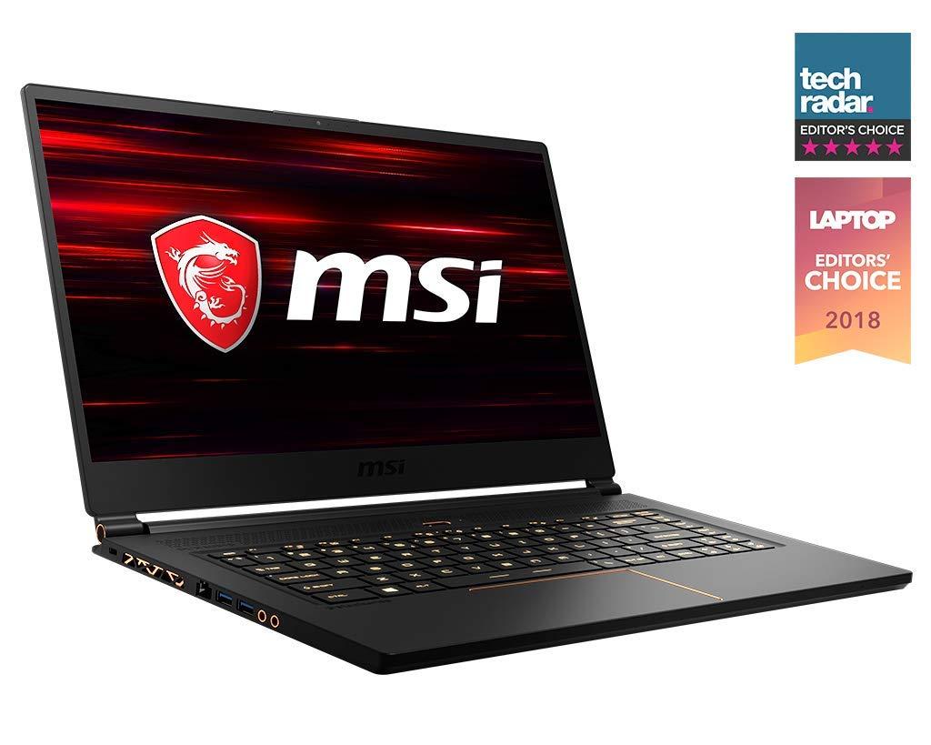 MSI GS65 Stealth THIN-037 15.6 144Hz 7ms Ultra Thin Gaming Laptop GTX 1070 8G, i7-8750H 6 Core, 16GB RAM, 512GB SSD, RGB KB VR Ready, Metal, Black w Gold Diamond Cut, Win 10 Home 64bit