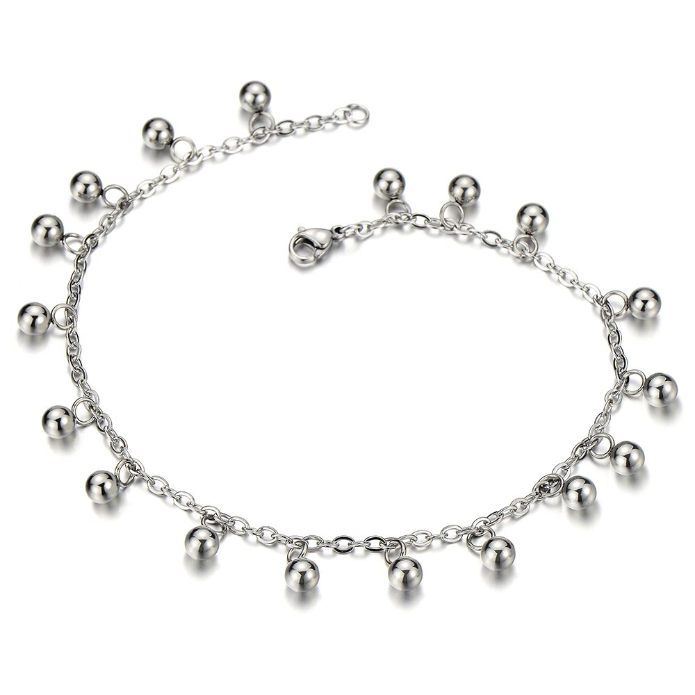 Stainless Steel Anklet Bracelet with Dangling Charms of Ball Bells COOLSTEELANDBEYOND FA-34-CA