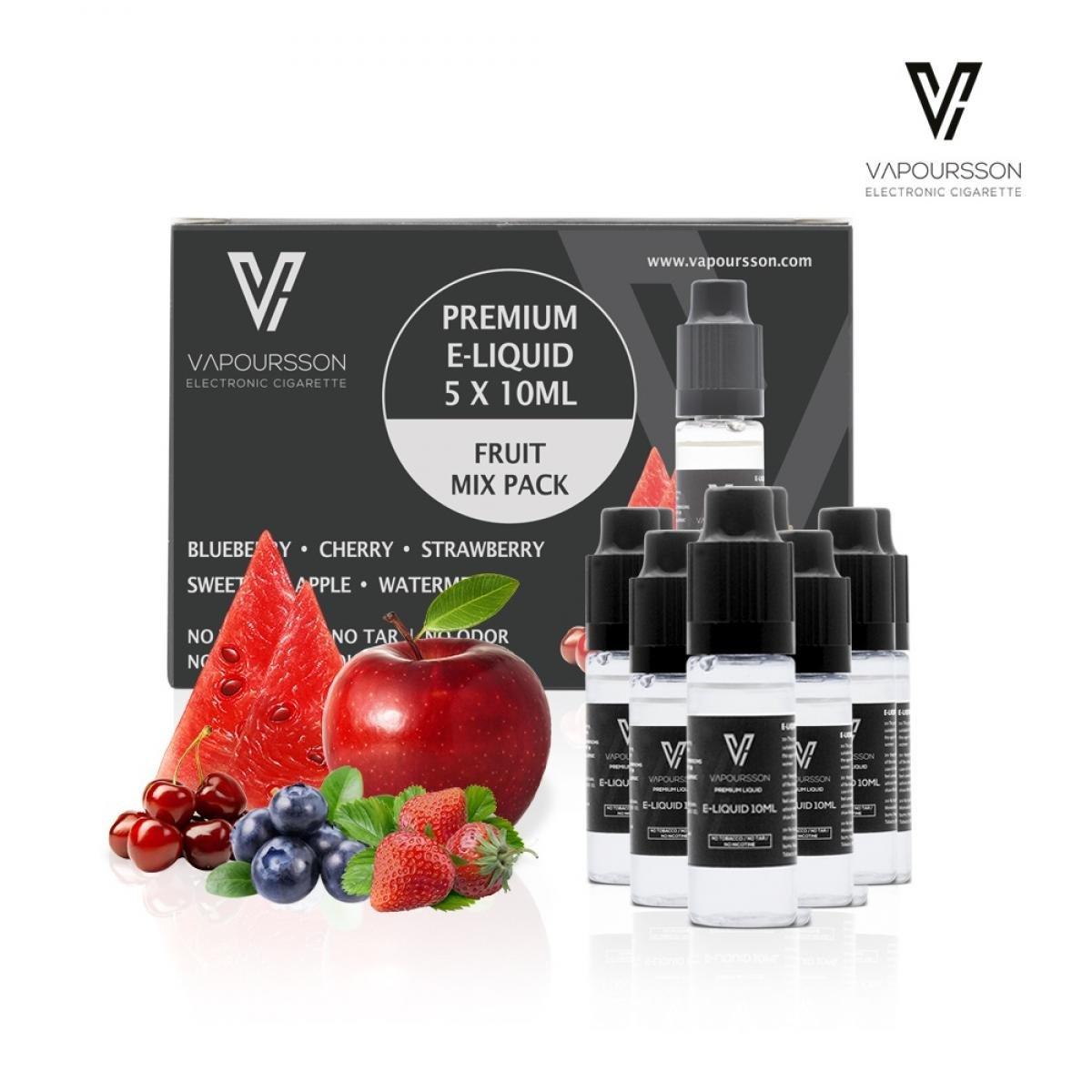 VAPOURSSON 5 X 10ml Elíquido Frutas mezcladas | Manzana - Arándano - Cereza - fresa - Sandía | Fórmula de alto nivel para un sabor extra fuerte | ...