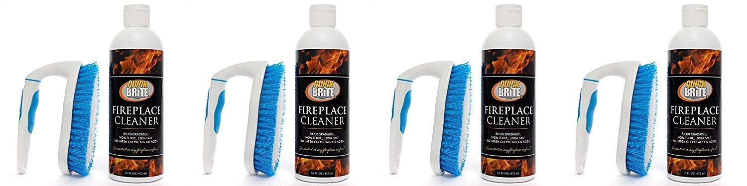 Quick N Brite Gel Kit with Scrub Brush 16oz Heavy Duty, Cleans Fireplace Brick, Stone, Tile, Rock, Removes Soot, Smoke, Creosote and Ash, No Acids, No Harsh Chemicals (4-(Pack))